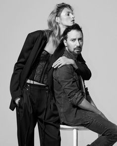 April 2016 - Anja Rubik poses with designer Anthony Vaccarello for the May issue of Harper's Bazaar