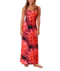 Another great find on #zulily! Magenta & Black Floral Maxi Dress #zulilyfinds