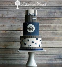Navy and gray elephant baby cake
