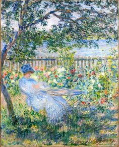 "⊰ Posing with Posies ⊱ paintings of women and flowers - Claude Monet, ""La Terrasse à Vétheuil"", 1881"