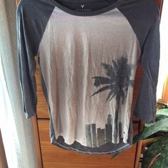 American eagle soft tee shirt Soft gray n cream palm tree shirt American Eagle Outfitters Tops Tees - Short Sleeve