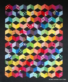 absolutely stunning quilt by Gone Aussie Quilting: Quiltsmart Tumbling Blocks Top