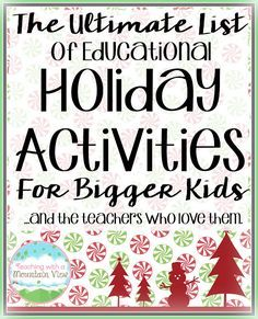 Are you looking for a great list of holiday activities to do with your 3rd, 4th, 5th, or 6th grade students during the month of December? Then you're going to LOVE this list! Lots of great ideas, freebies, and more!! Click through for all the links! Holiday Classrooms, Holiday Activities For Kids, Classroom Fun, Classroom Activities, Preschool Bulletin, Winter Activities, Steam Activities, Learning Activities, Holiday List