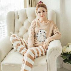 032121afae Autumn and Winter Women Pyjamas Sets Thick Warm Coral Velvet Suit Flannel  Long Sleeve Female Cartoon Bear Animal Pants Sleepwear