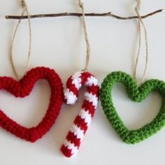 Crochet Christmas Ornaments Etsy.com/DaydreamsbyMeri.The hearts don't have any thing to do with x-mas,but i like them because it has the Christmas colors red and green.