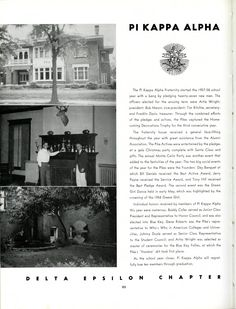 1958 Moccasin Yearbook, Pi Kappa Alpha, University of Chattanooga, UTC. See more old yearbooks at http://digital-collections.library.utc.edu/cdm/landingpage/collection/p16877coll3