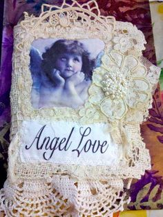 ANGEL LOVE Fabric & VINTAGE Wedding Lace Collage Mixed Media Book   eBay