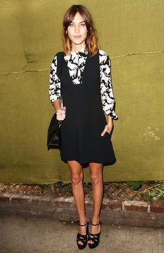 Alexa Chung inStella McCartney Spring 2016 Resort Presentation in NYC from Work Fashion, Star Fashion, Womens Fashion, Monochrome Fashion, Celebrity Outfits, Celebrity Style, Alexa Chung Style, Black And White Skirt, White Skirts
