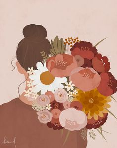 Illustration Art Drawing, Woman Illustration, Art Drawings, Illustration Flower, Portrait Illustration, Aesthetic Art, Korean Aesthetic, Couple Aesthetic, Digital Art Girl