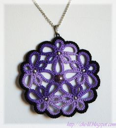 tatted (crochet tatted?) pendant with beads - no tutorial