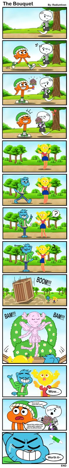 A comic of both brother give their girlfriend a flower bouquet. It was the most tiresome comic ever made. TAWoG FanComic: The Bouquet Cartoon Characters As Humans, Cartoon Tv, Yandere, Carrie, Adventures Of Gumball, Amazing Gumball, Cartoon Network Shows, Cartoon Crossovers, World Of Gumball