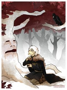 """The night was windless, the snow drifting straight down out of a cold black sky, yet the leaves of the heart tree were rustling his name. ""Theon,"" they seemed to whisper, ""Theon...."