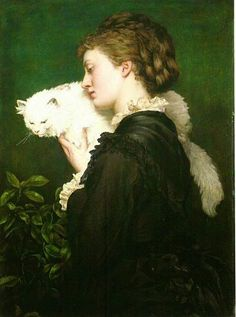 "May Prinsep and her Persian Cat Valentine Prinsep. Valentine Cameron ""Val"" Prinsep RA was a British painter of the Pre-Raphaelite school. Old Paintings, Paintings I Love, Animal Paintings, Crazy Cat Lady, Crazy Cats, John Everett Millais, Angora Cats, Sam And Cat, Cat Valentine"