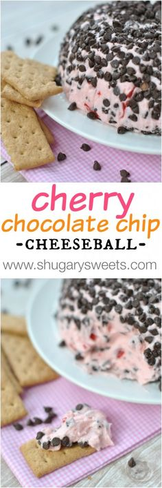 Cherry Chocolate Chip Cheeseball- a delicious twist on a classic sweet cheeseball recipe!