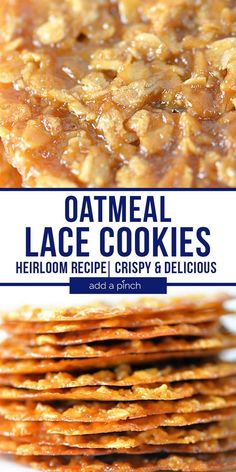 Everyone LOVES these Crisp, Delicious Oatmeal Lace Cookies! - Add a Pinch - Desserts - These Oatmeal Lace Cookies are a long-time family favorite cookie recipe! They are crisp, light, de - Crinkle Cookies, Oatmeal Lace Cookies, Oatmeal Cookie Recipes, Shortbread Cookies, Köstliche Desserts, Delicious Desserts, Dessert Recipes, Yummy Food, Lace Cookies Recipe