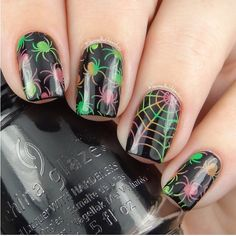 Totally late for day 13 of #clairestelle8oct challenge, psychedelic. Not sure if this fits, but yeah, I like my neon spiders. Lol. Used @chinaglazeofficial Liquid Leather and @mundodeunas neon stamping polishes. And @uberchicbeauty Halloween plate. @moyou_london Halloween plate. Hope you like them!!!
