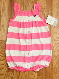 70a1eaf8f1a0 Carter s Baby Girl Romper ~ White  amp  Pink ~ 12M ~ Stripes ~ Sleeveless ~