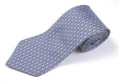 Brooks Brothers Makers Necktie Blue Gold Geometric Mens Classic Silk Tie #BrooksBrothers #NeckTie
