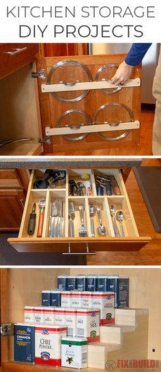 Come learn how to make 3 DIY Kitchen Storage and Organization Projects. Make your own Pot Lid Holder, Custom Drawer Organizer and Spice Rack. Minimal Tools Needed, Perfect for Beginners! Diy Drawer Organizer, Drawer Organisers, Home Organizer, Diy Kitchen Storage, Kitchen Drawers, Kitchen Cabinetry, Diy Décoration, Easy Diy, Simple Diy