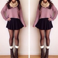 Fall outfit ♥ so cute!! #combatboots