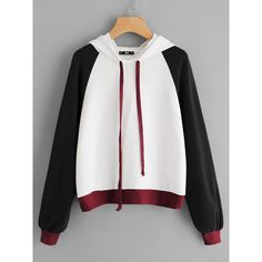 SheIn offers Color Block Raglan Sleeve Hoodie & more to fit your fashionable needs. Fashion Mode, Korean Fashion, Fashion Outfits, Stylish Outfits, Cool Outfits, Stylish Hoodies, Design Textile, Vetement Fashion, Pullover Designs
