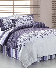Take a look at this Purple & Gray Beckett Reversible Comforter Six Piece Set by Duck River Textile on #zulily today!