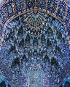 St. Petersburg Mosque, blue, architecture, colors, ceiling