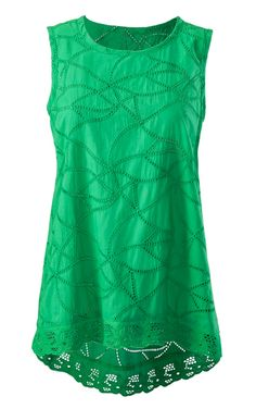 Discover cabi's Gemma Top in jelly bean green with a stunning eyelet body that is fitted at the chest and eases out into a gentle swing shape.