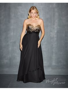Black Strapless Jewel Gown