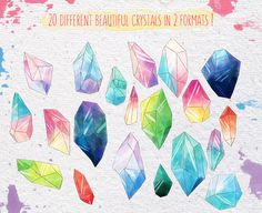Watercolor crystals set +Bonus! by Liten Fågel Studio on @creativemarket