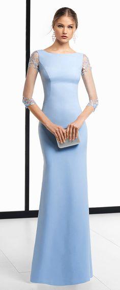 Beautiful Acetate Satin Jewel Neckline 3/4 Length Sleeves Sheath / Column Prom Dress With Beaded Embroidery