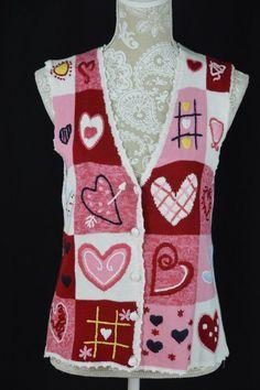 Bobbie Brooks Womens Medium 8-10 Sweethearts Valentines Day Sweater Vest Button #BobbieBrooks #VestSleeveless