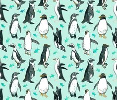 Watercolor Penguins with little Teal Fish on Mint fabric by micklyn on Spoonflower - custom fabric