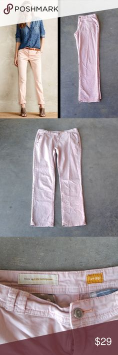 Pilcro Light Pink Hyphen Chinos Pilcro and the Letterpress pants from Anthropologie, size 29, in excellent condition! Color is a very pale pink. These don't actually say Hyphen on them but based on the style and fit, that is my best guess. They are more of a boot cut or straight less, and not as skinny as other styles. Great pants for work, or for dressing up for date night! Cover photo from Anthro website. No trades. No modeling. Make a reasonable offer. Thanks! Anthropologie Pants Straight…