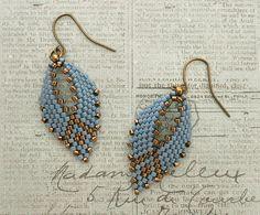 Linda's Crafty Inspirations: Russian Leaf Earrings - Denim Blue & Bronze