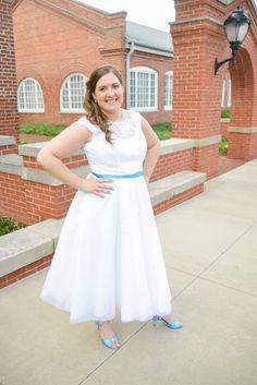 davids bridal dress and shoes dyed malibu blue