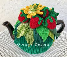 Crochet tea cozy green cover red strawberry tea cosy warmer crochet yellow flower kitchen accessory Mother's Day gift idea tea time décor