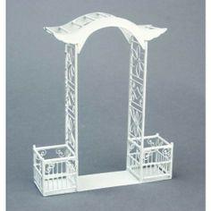 AZTEC MINIATURES - 1 Inch Scale Dollhouse Miniature - 2 Piece White Wire Arch Flower Boxes (AZEIWF418)