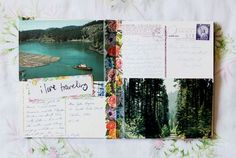 A travel journal made of vintage postcards. So charming.