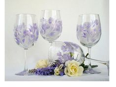 Personalized wine glasses, available in my Etsy shop https://www.etsy.com/listing/91064544/hand-painted-bridesmaid-wine-glasses
