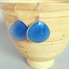stone earrings large stone earrings blue chalcedony by AinaKai