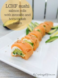 Low carb sushi: salmon rolls with avocado and horseradish cream. Extremely delicious! --> www.mycopenhagenkitchen.com