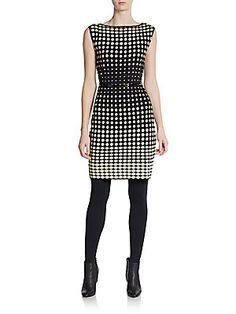 V-Neck Belted Jacquard A-Line Dress