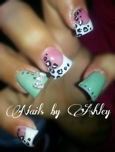 Mint French gel nails with leopard print and rhinestone bow