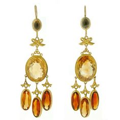 A. Brandt + Son - Victorian 14kt & Madeira Citrine Long Hanging Earrings