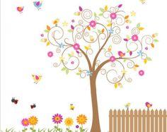 Vinyl Wall Decal Nursery Tree Decal Bird Tree by Modernwalls