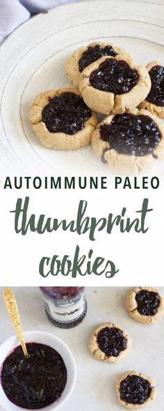 Paleo Thumbprint Cookies with Cassava Flour (AIP) Paleo Sweets, Paleo Dessert, Dessert Recipes, Desserts, Thumbprint Cookies, Cassava Flour Recipes, Keto, Paleo Diet, Paleo Jam