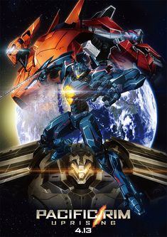 bracer_phoenix earth gipsy_avenger glowing glowing_eyes guardian_bravo highres mecha no_humans official_art oobari_masami pacific_rim pacific_rim:_uprising planet poster saber_athena science_fiction space star weapon Pacific Rim Kaiju, Pacific Rim Jaeger, Saori Hayami, Avenger, Robot Art, Robots, Mecha Anime, Super Robot, Anime Films