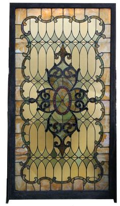 ❤ Antique stained glass landing window - 1900-1910. by frances