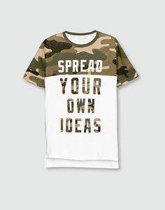 Pull&Bear - hombre - camisetas - camiseta print camuflaje - blanco roto - 09239541-I2016